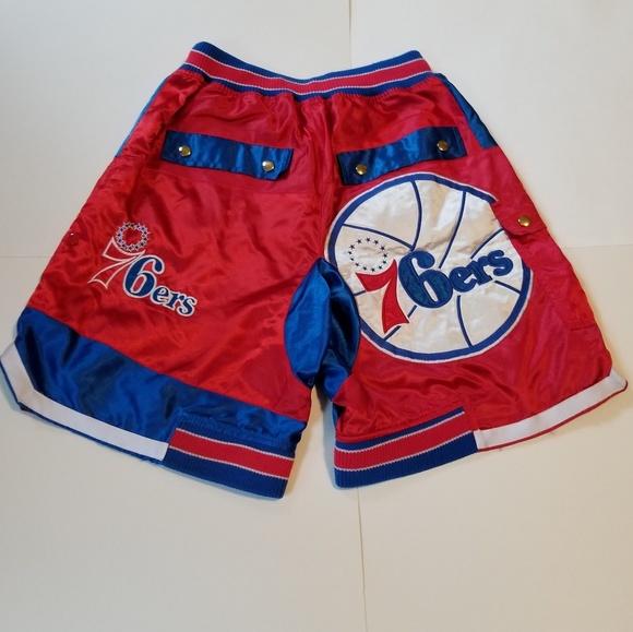 Philadelphia Sixers 76ers Blue Basketball Stitched Sewn Shorts NWT
